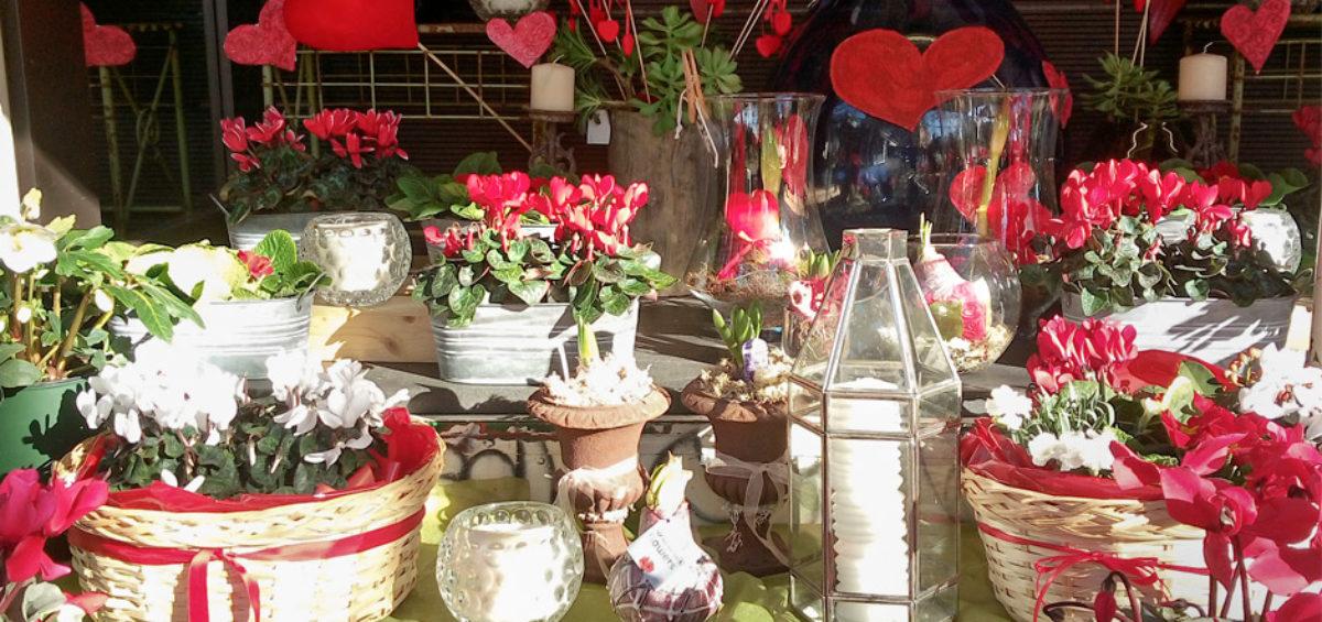 la vetrina di San Valentino di fiori di città e un tripudio di cuori e fiori rossi